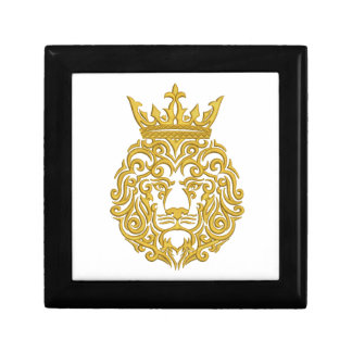 golden lion in the crown - imitation of embroidery gift box