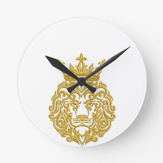 golden lion in the crown - imitation of embroidery round clock