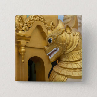 Golden Lion Statue At Temple 2 Inch Square Button