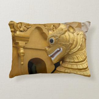 Golden Lion Statue At Temple Accent Pillow