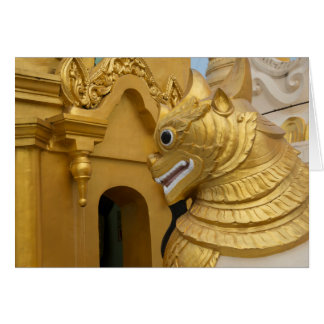 Golden Lion Statue At Temple Card