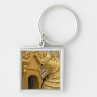 Golden Lion Statue At Temple Keychain