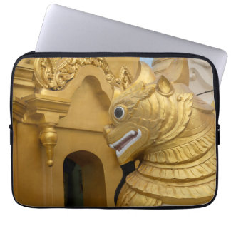 Golden Lion Statue At Temple Laptop Sleeve
