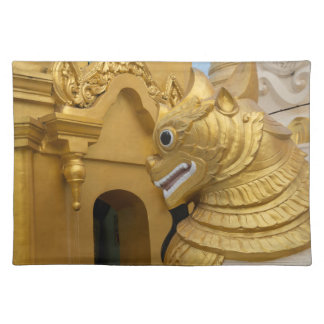 Golden Lion Statue At Temple Placemat