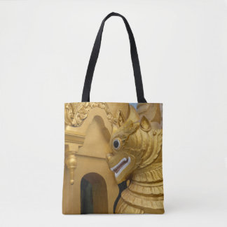 Golden Lion Statue At Temple Tote Bag