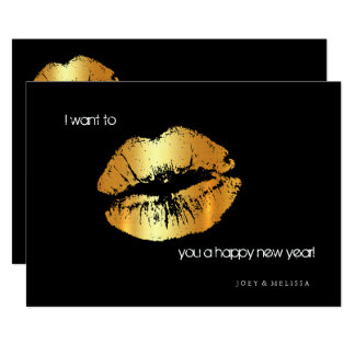 Golden lips Happy New Year invitation card