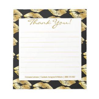 Golden Lips on Black - Custom Thank You Notepad