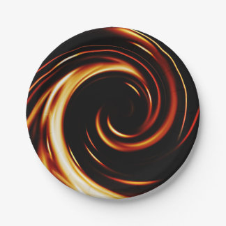 Golden Liquid Spiral Paper Plate