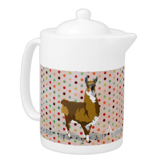 Golden LLama Pokadot Teapot