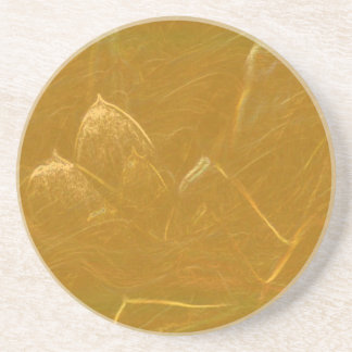GOLDEN LOTUS Artistic Gold Foil Art Coaster