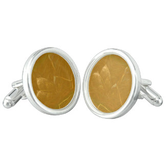 GOLDEN LOTUS Artistic Gold Foil Art Cufflinks