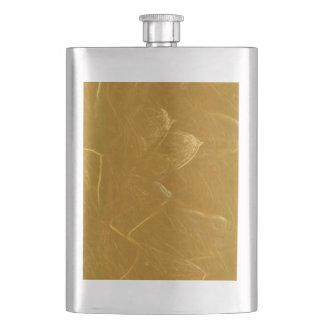 GOLDEN LOTUS Artistic Gold Foil Art Hip Flask