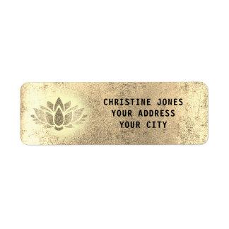 golden lotus flower return address label