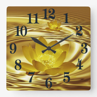 Golden lotus flower square wall clock