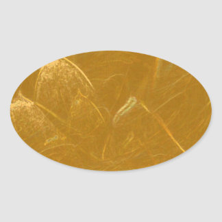 Golden Lotus Leaf - Imbossed Print Oval Sticker