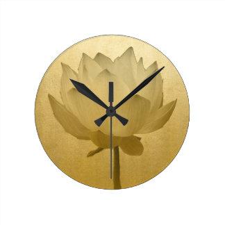 Golden Lotus Round Clock