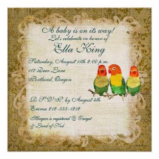 Golden Love Birds Baby Invitation