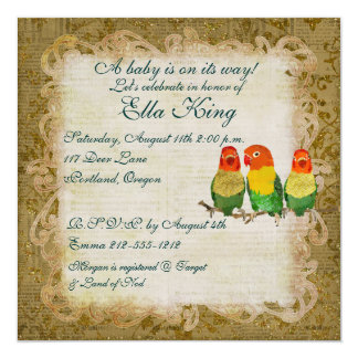 Golden Love Birds Baby  Invitation