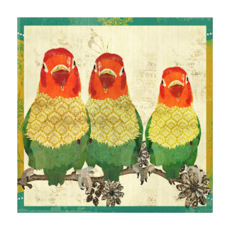 Golden Love Birds  Vintage  Canvas