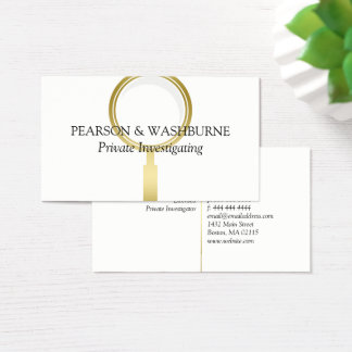 Golden Magnifying Glass Private Investigator Business Card