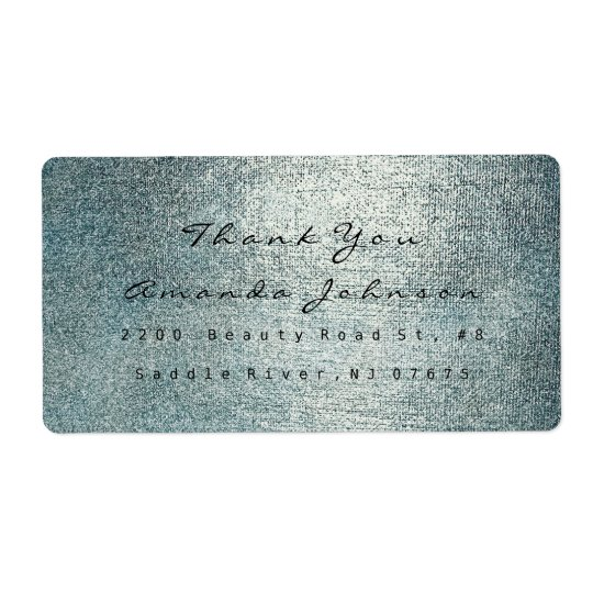Golden Makeup Teal Silver Grey Thank You Shipping Label