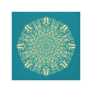 Golden Mandala against Teal Background Canvas