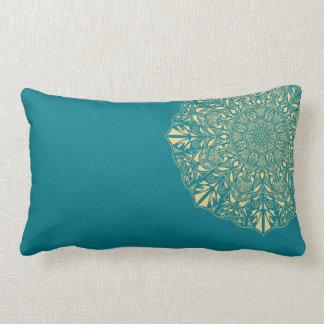 Golden Mandala against Teal Background Lumbar Lumbar Pillow