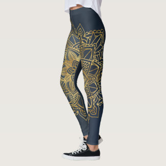 Golden Mandala Blue Background Leggings