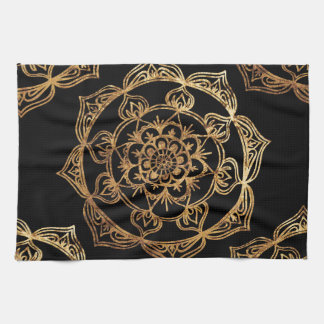 Golden Mandalas on Black Kitchen Towel