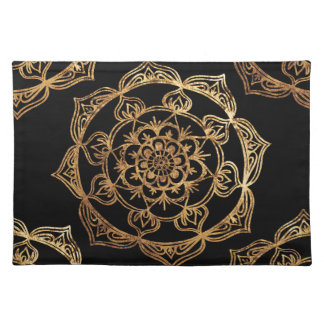 Golden Mandalas on Black Placemat