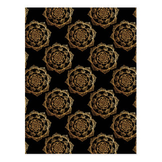 Golden Mandalas on Black Postcard