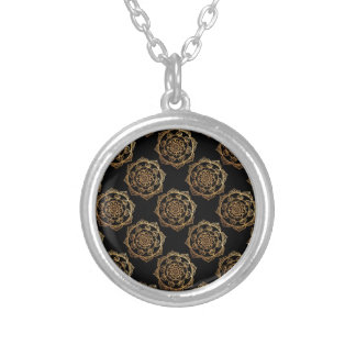 Golden Mandalas on Black Silver Plated Necklace
