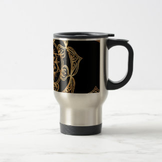 Golden Mandalas on Black Travel Mug