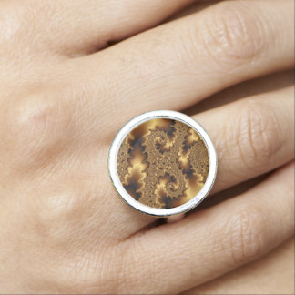 Golden mandelbrot fractal «abstract leaves» ring