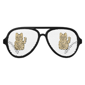 Golden Maneki Neko Aviator Sunglasses