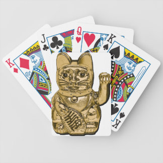 Golden Maneki Neko Bicycle Playing Cards