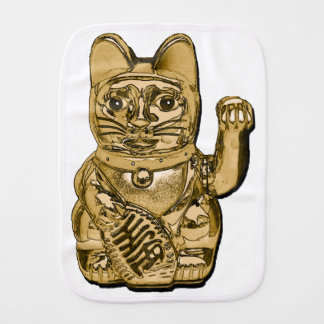 Golden Maneki Neko Burp Cloth