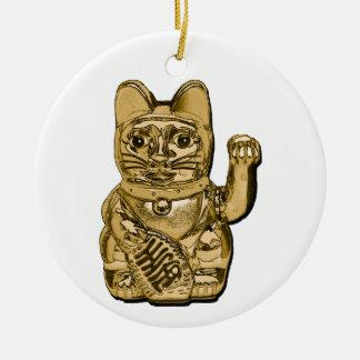 Golden Maneki Neko Ceramic Ornament