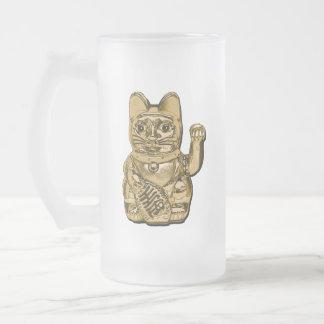 Golden Maneki Neko Frosted Glass Beer Mug
