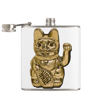 Golden Maneki Neko Hip Flask