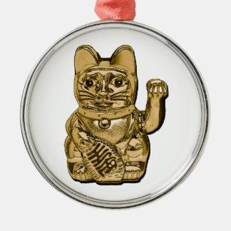 Golden Maneki Neko Metal Ornament
