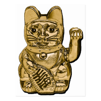 Golden Maneki Neko Postcard