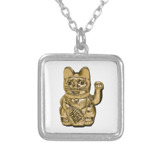 Golden Maneki Neko Silver Plated Necklace