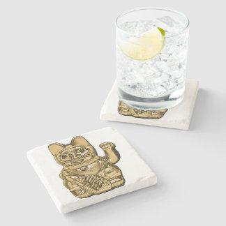 Golden Maneki Neko Stone Coaster