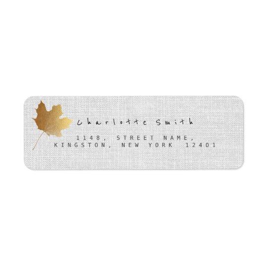 Golden Maple Leaf Linen Return Address Labels