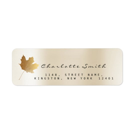 Golden Maple Leaf Pearly Ivory Creamy RSVP Labels