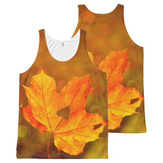 Golden Maple Leave On Fall Blurred Background All-Over-Print Tank Top