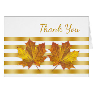 Golden maple leaves, stripes Thank You Card