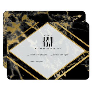 Golden Marble Triangle RSVP Card