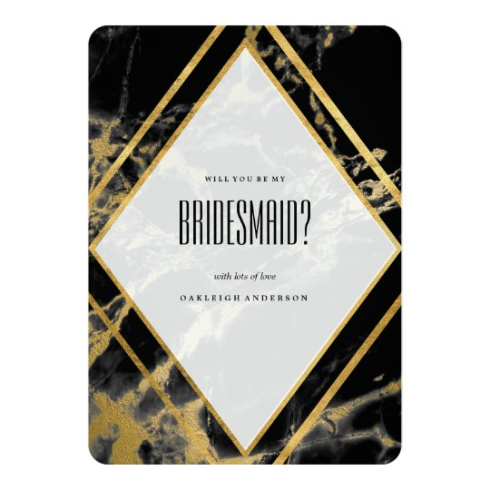 Golden Marble Triangle Will You Be My Bridesmaid? Card